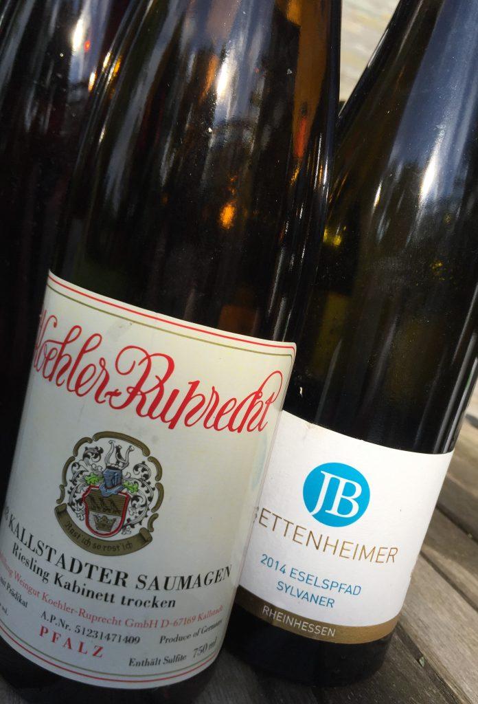 Flaschen Saumagen Koehler Ruprecht und Eselspfad Sylvaner Bettenheimer