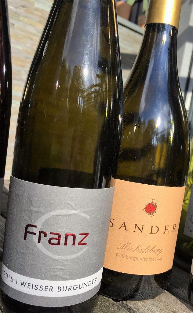 Flaschen Weißburgunder Sander und Franz Rheinhessen